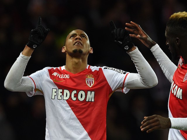 Fabinho celebrates scoring during the Ligue 1 game between PSG and Monaco on March 20, 2016