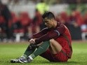 Cristiano Ronaldo reacts after failing to score a penalty kick during the friendly between Portugal and Bulgaria at Magalhaes Pessoa stadium in Leiria on March 25, 2016
