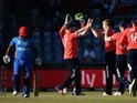 David Willey celebrates taking the wicket of Mohammad Shahzad during the World Twenty20 between England and Afghanistan on March 23, 2016