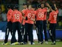 England players celebrate winning the World Twenty20 game between England and Sri Lanka on March 26, 2016