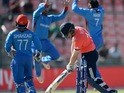 Eoin Morgan reacts after losing his wicket during the World Twenty20 match between England and Afghanistan on March 23, 2016
