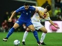 Manuel San Jose Dominguez and Antonio Candreva in action during the international friendly between Italy and Spain on March 24,2016