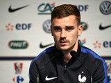 An earnest Antoine Griezmann speaks at a France press conference on March 22, 2016