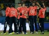 England players celebrate winning the World Twenty20 game between England and Sri Lanka on March 26, 2016