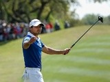 Jason Day celebrates victory on the final day of the World Golf Championship-Dell Match Play on March 27, 2016