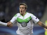 A fully-clothed Max Kruse in action for Wolfsburg in February 2016