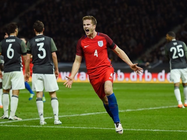 Eric Dier celebrates his winner during the international friendly between Germany and England on March 26, 2016
