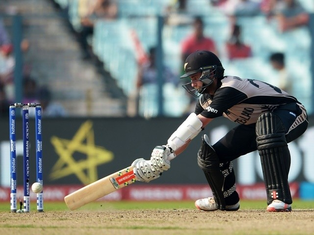 New Zealand captain Kane Williamson plays a shot during the World T20 match against Bangladesh on March 26, 2016
