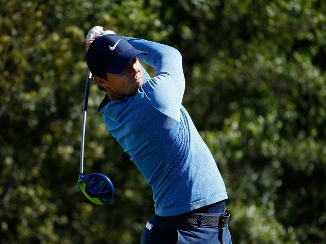 Rory McIlroy hits his tee shot on the 15th hole during the second round of the World Golf Championships-Dell Match Play at the Austin Country Club on March 24, 2016
