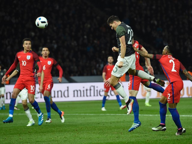 Mario Gomez heads in his side's second during the international friendly between Germany and England on March 26, 2016