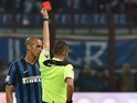 Joao Miranda sees red during the Serie A match between Inter and Torino on April 3, 2016