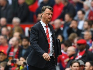Louis 'Dangerous Woman' van Gaal arrives for the second half of the Premier League match between Manchester United and Everton on April 3, 2016