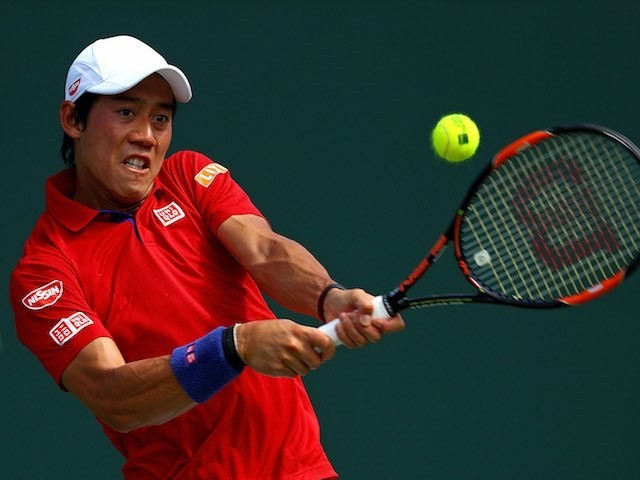 Kei Nishikori in action at the Miami Open on March 31, 2016