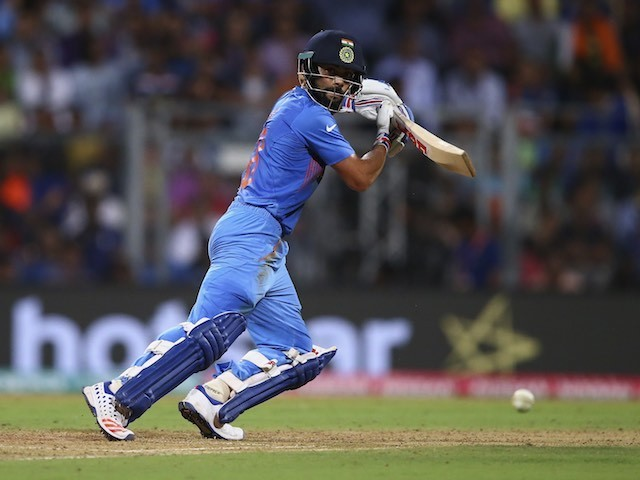 India's Virat Kohli plays a shot during the ICC World Twenty20 semi-final against West Indies on March 31, 2016