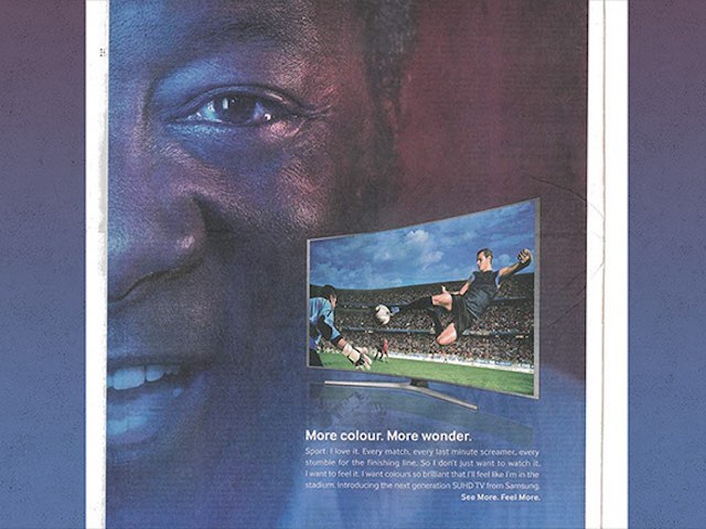 A black man who isn't Pele appears in a Samsung newspaper advert