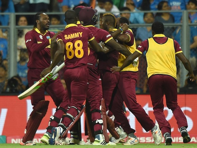 West Indies players celebrate their semi-final victory over India in the World Twenty20 on March 31, 2016