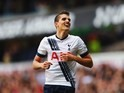 Erik Lamela makes it three during the Premier League game between Tottenham Hotspur and Manchester United on April 10, 2016