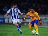 Neymar and Esteban Granero in actione during the La Liga game between Real Sociedad and Barcelona on April 9, 2016