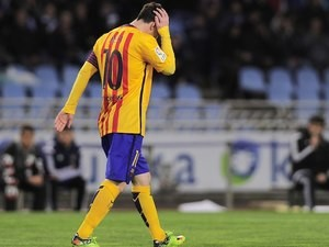 Lionel Messi looks disappointed during the La Liga game between Real Sociedad and Barcelona on April 9, 2016