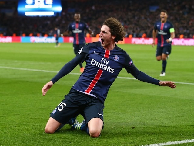 Adrien Rabiot nudges his side into the lead during the Champions League quarter-final between Paris Saint-Germain and Manchester City on April 6, 2016
