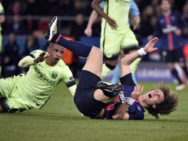 David Luiz takes a wee tumble during the Champions League quarter-final between Paris Saint-Germain and Manchester City on April 6, 2016