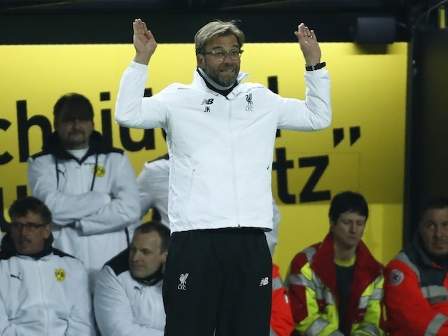 Jurgen Klopp surrenders during the Europa League quarter-final between Borussia Dortmund and Liverpool on April 7, 2016