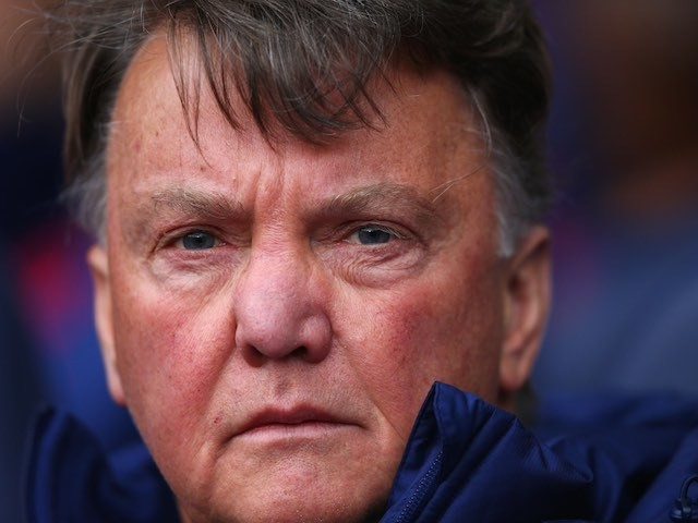 Louis van Gaal is ready for his close-up during the Premier League game between Tottenham Hotspur and Manchester United on April 10, 2016