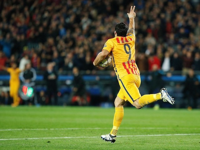 'That man' Luis Suarez celebrates his equaliser during the Champions League quarter-final between Barcelona and Atletico Madrid on April 5, 2016