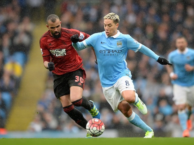 Sandro and 14-year-old Samir Nasri in action during the Premier League game between Manchester City and West Bromwich Albion on April 9, 2016