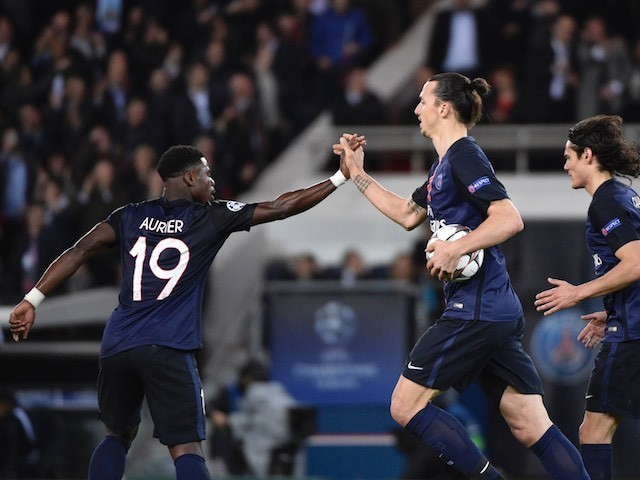 Zlatan Ibrahimovic celebrates the equaliser with Serge 'camper than a row of tents' Aurier during the Champions League quarter-final between Paris Saint-Germain and Manchester City on April 6, 2016
