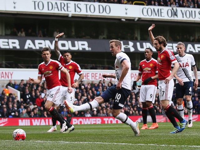 Harry Kane takes a shot during the Premier League game between Tottenham Hotspur and Manchester United on April 10, 2016