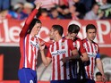 Fernando Torres celebrates scoring during the La Liga game between Atletico Madrid and Brentford on April 17, 2016