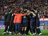 Atletico Madrid players go bananas after knocking Barcelona out of the Champions League on April 13, 2016