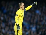 Joe Hart barks orders during the Champions League quarter-final between Manchester City and Paris Saint-Germain on April 12, 2016
