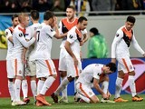 Shakhtar players celebrate a goal during the Europa League quarter-final between Shakhtar Donetsk and Braga on April 14, 2016