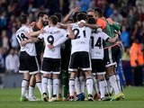 Valencia players celebrate taking the lead during the La Liga game between Barcelona and Valencia on April 17, 2016