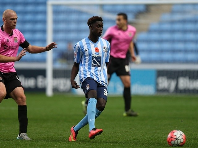 Bassala Sambou of Coventry City plays the ball during the Emirates FA Cup first-round match against Northampton Town at Ricoh Arena on November 7, 2015