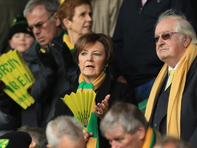 Delia Smith watches on during the Premier League game between Norwich City and Sunderland on April 16, 2016