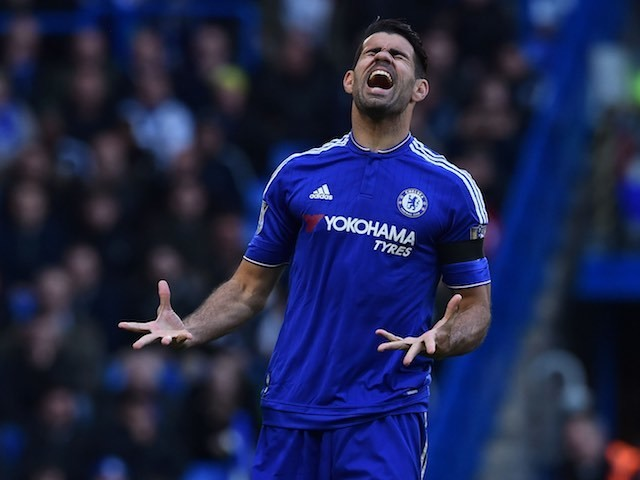 Diego Costa is unhappy with a missed chance during the Premier League game between Chelsea and Manchester City on April 16, 2016