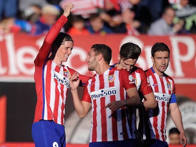 Fernando Torres celebrates scoring during the La Liga game between Atletico Madrid and Brentford on April 17, 2016