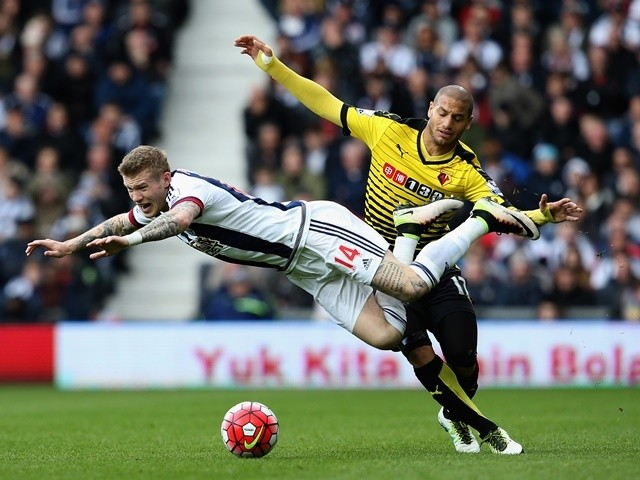 James McClean and Adlene Guedioura during the Premier League match between West Bromwich Albion and Watford on April 16, 2016