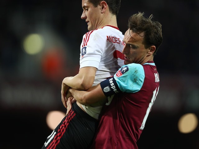 Mark Noble shows Ander Herrera a good time during the FA Cup replay between West Ham United and Manchester United on April 13, 2016