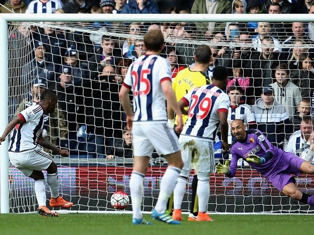 Saido Berahino sees his penalty saved by Heurelho Gomes during the Premier League match between West Bromwich Albion and Watford on April 16, 2016