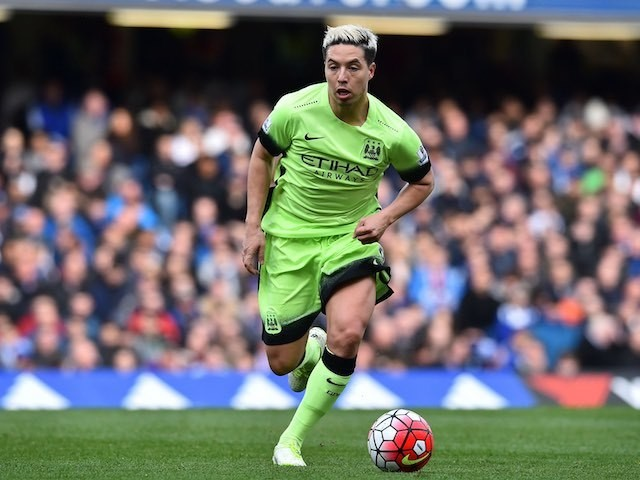 Samir Nasri in action during the Premier League game between Chelsea and Manchester City on April 16, 2016