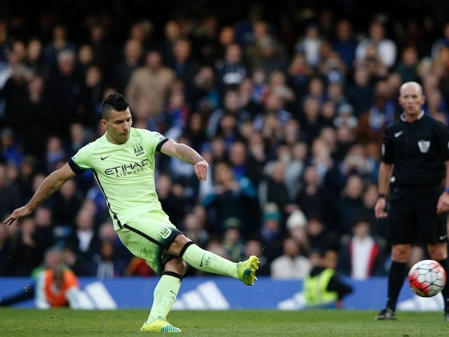 Sergio Aguero scores from the spot for his hat-trick during the Premier League game between Chelsea and Manchester City on April 16, 2016