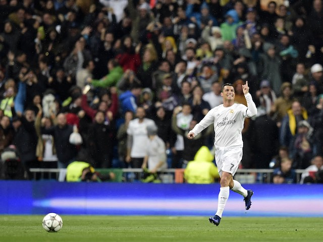 Cristiano Ronaldo celebrates scoring a goal during the Champions League quarter-final between Real Madrid and Wolfsburg on April 12, 2016