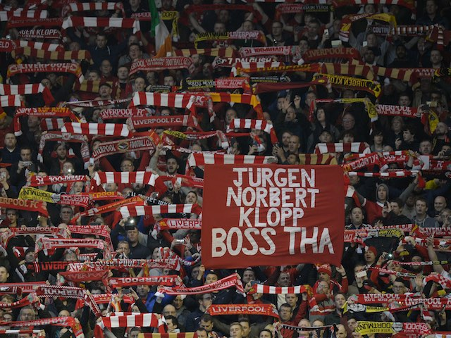 Jurgen NORBERT Klopp is praised by Dortmund fans during the Europa League quarter-final between Liverpool and Borussia Dortmund on April 14, 2016