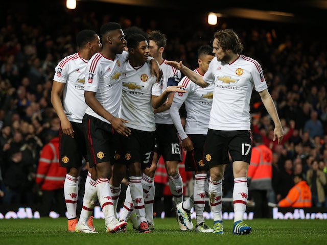Marcus Rashford celebrates scoring the opener with teammates during the FA Cup replay between West Ham United and Manchester United on April 13, 2016