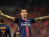 Long-limbed Angel Di Maria celebrates scoring lors de la finale de la Coupe de la Ligue entre Lille et PSG le 23 Avril, 2016