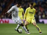 Casemiro vies with Denis Suarez during the La Liga game between Real Madrid and Villarreal on April 20, 2016